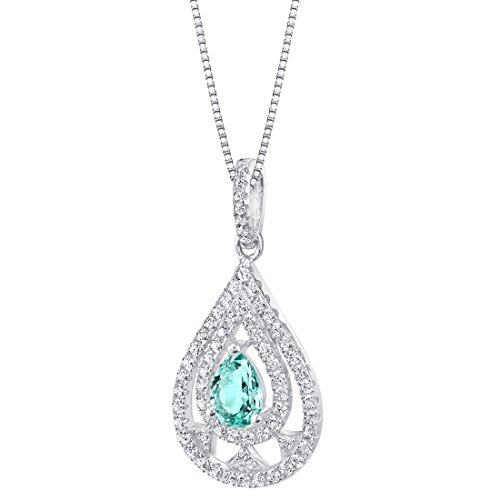 (Simulated Paraiba Tourmaline Sterling Silver Divine Pendant Necklace)