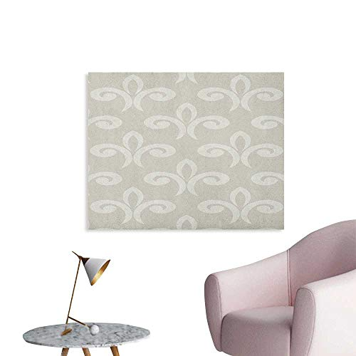 Anzhutwelve Geometric Painting Post Damask Pattern in Soft Colored Design Ethnic and Oriental Inspirations Ornate Shapes Art Poster Beige W32 xL24
