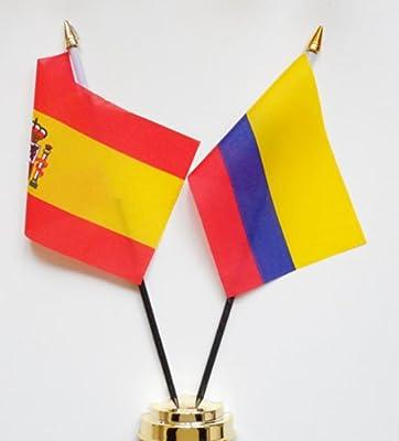 España y Colombia amistad Bandera de mesa pantalla 25 cm (10 ...