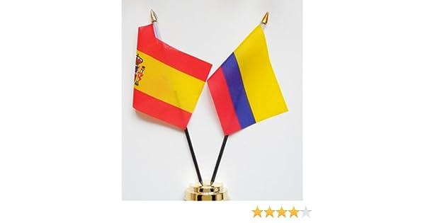 España y Colombia amistad Bandera de mesa pantalla 25 cm (10