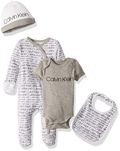(Calvin Klein Baby Girls' Infant Gift Set, 4 Piece CK Logo Print, 18-24 Months)