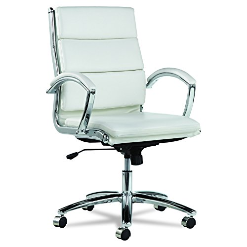 Alera NR4206 Alera Neratoli Mid-Back Swivel/Tilt Chair, White Faux Leather, Chrome Frame by Alera