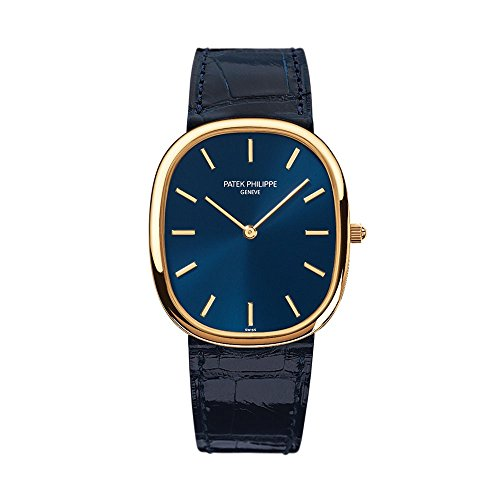 patek-philippe-golden-ellipse-yellow-gold-watch-on-blue-leather-strap