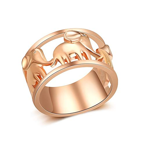 SISIBER Unique Lovely Delicate Animal Elephant Hollow Design Wide Rose Gold Rings for Woman Girls Men Children Party Accessories,7