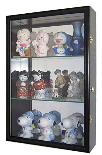 Wall Collectors Curio - Wall Curio Cabinet/Collectors Display Case Wall Mount, Glass Door, Mirrored Back, CD01B-BLA