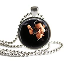 Morticia and Gomez Addams 1 inch Silver Plated Picture Pendant Necklace