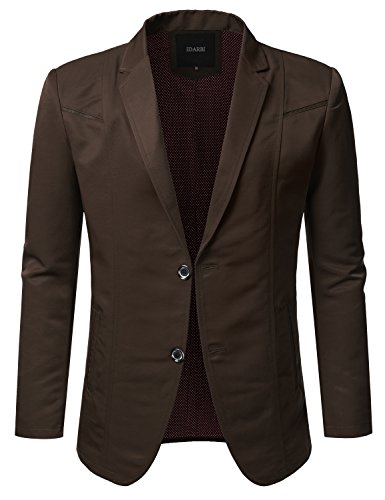 - IDARBI Mens Slim Fit Casual Buttoned Blazer Suit Jacket Brown M