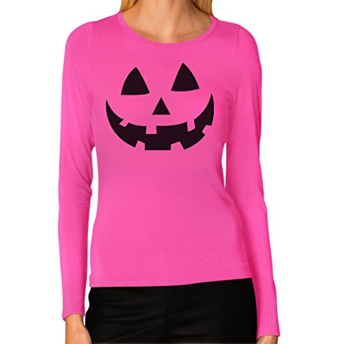 JACK O' LANTERN - Smiling Pumpkin Face - Easy Halloween Costume Fun Women Long Sleeve T-Shirt X-Large (Family Halloween Costume Ideas With Baby)