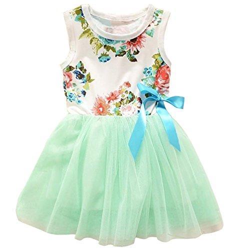 Theplus Little Girls Sleeveless Floral Princess Dress Tulle Tutu Sundress 3T Green