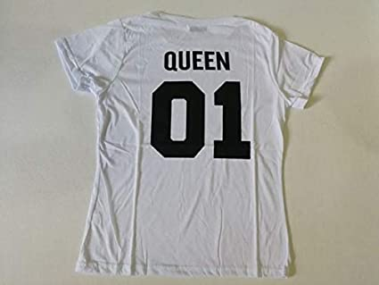 48c9de4ad4 Matching Family Clothes King Queen Couples T Shirt 2019 Summer Casual Solid Short  Sleeve Cotton T-Shirt Crown Printed Funny Tops:Queen 01, S: Amazon.in: ...
