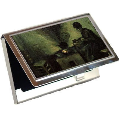 Vincent Fireplace - Peasant Woman by the Fireplace By Vincent Van Gogh Business Card Holder