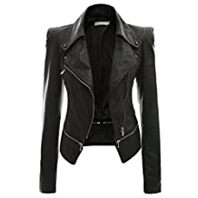 Bestgift Women's Solid Color Faux Leather Slim Fit Zip-up Short Jacket