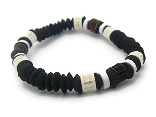 APECTO Hawaiian Natural Jewelry Black Wood Beads Multi Color Shark Bones Beads Surfer Beach Ocean Wrist Elastic Bracelet (Brown), (Hindu Halloween Costumes)
