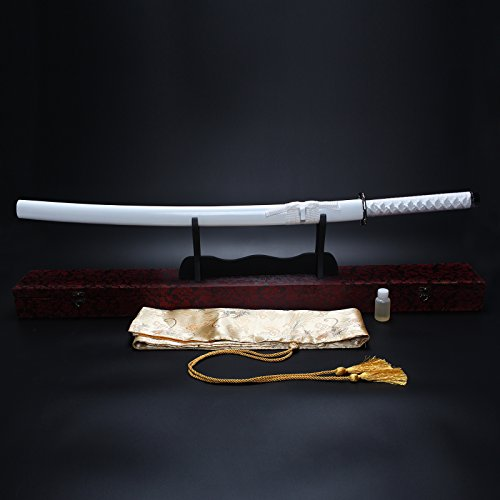 "Splendent Furniture 38"" Handmade Japanese Full Tang Sword T1060 Carbon Steel Blade with Wooden Holder/Stand 4 Colors (White Sheath & Red Box)"