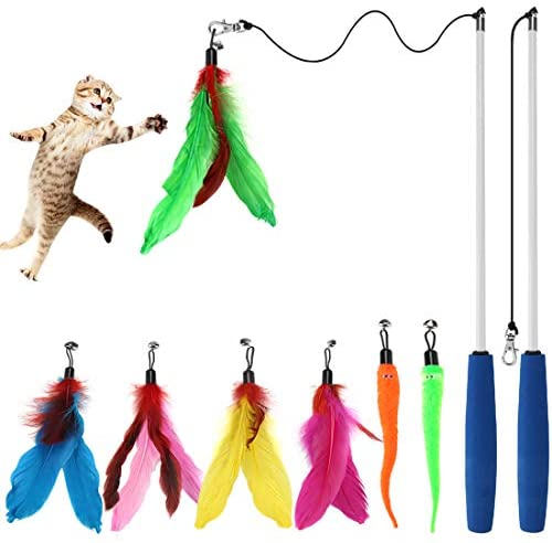Cat Toys Interactive Cat Feather Wand, Kitten Toys 2pcs Retractable Cat Wand Toy & 7pcs Natural Feather Teaser Replacements with Bell, Telescopic Cat Fishing Pole Toy for Indoor Kitty Old Cat Exercise 2