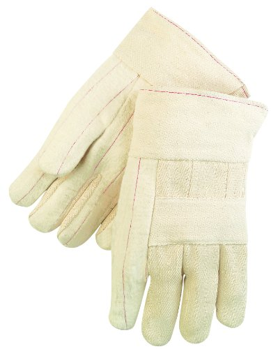 MCR Safety 9124C Hot Mills Cotton Regular Weight Men's Gloves with Knuckle Strap and Band Top, Natural, Large, 1-Pair Hot Mill Knuckle Strap