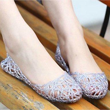 RUGAI-UE Moda de Verano Mujer sandalias casuales zapatos de tacones PU Confort caminar al aire libre,Caqui,38 Silver