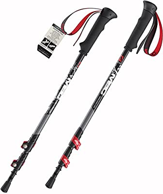 Carbofox Carbon Fiber Hiking Poles for Trekking and Walking - Ultralight Pair - Durable & Adjustable with External Quick Lock Mechanism