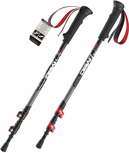 Carbofox Carbon Fiber Hiking Poles for Trekking and Walking - Ultralight Pair – Durable & Adjustable with External Quick Lock Mechanism