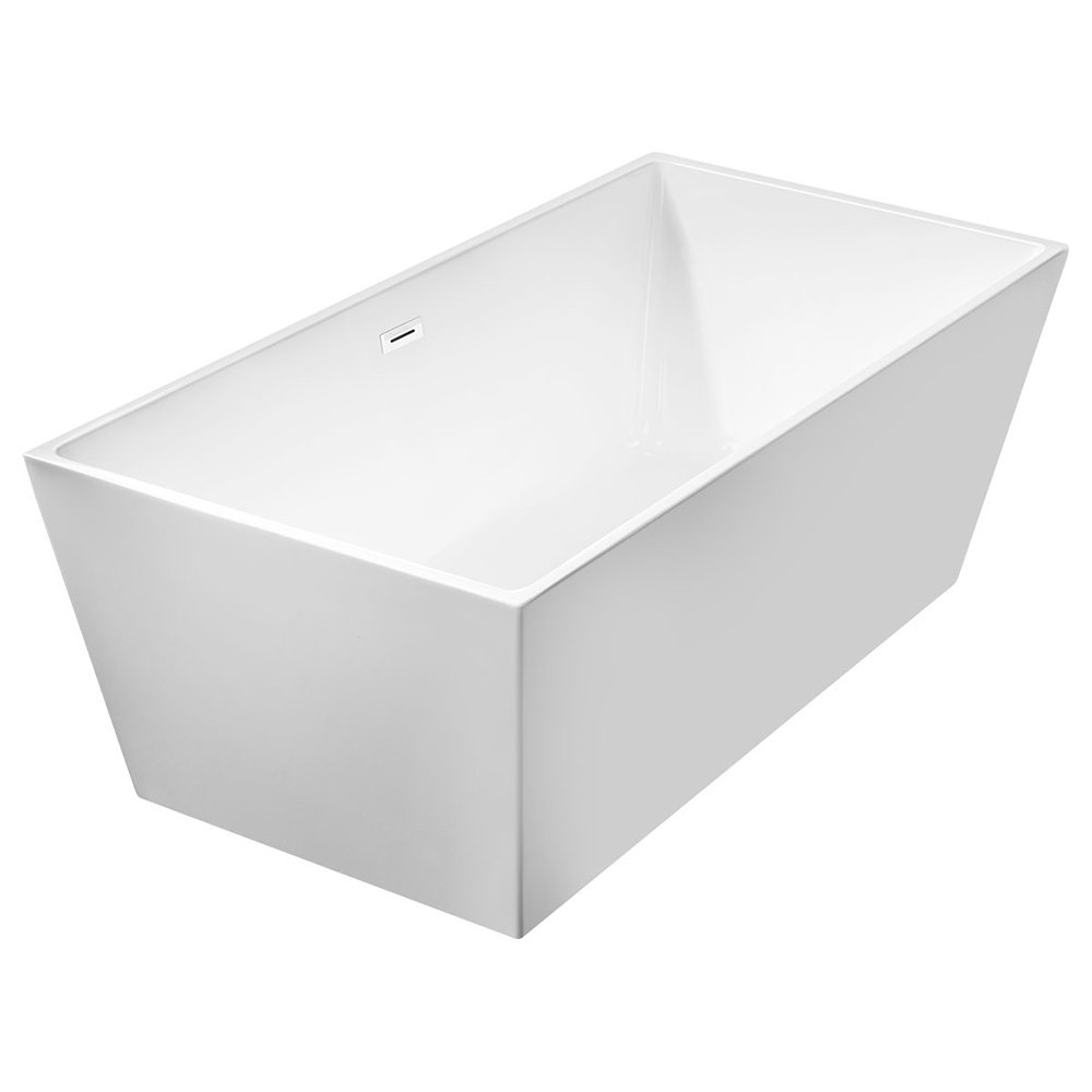 WoodBridge 67'' Modern Freestanding Bathtub with Brushed Nickel Overflow & Drain, B-0003
