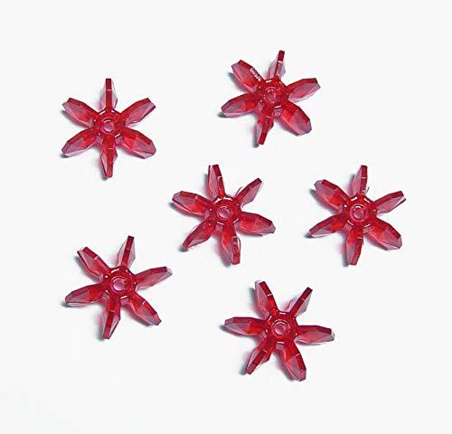 Christmas Red 18mm Starflake Sunburst Craft Beads 150pc