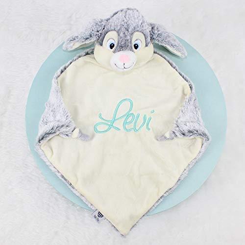 Schmusetuch Kuscheltuch Hase grau individuell bestickt Baby Geschenk 30x30cm