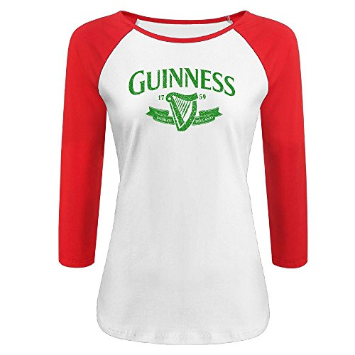 Baseball Guinness (YI Own Women's Funny Guinness Logo 3/4 Sleeve Baseball T-Shirt Red)