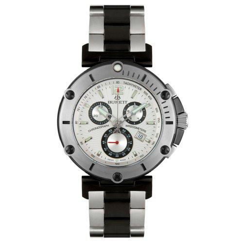 Burett Men's B4203LSSA Continent Collection Black and Stainless Steel Chronograph Diver Watch - Burett Burett Mens Watch