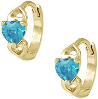 24e4e1f71 Baby & Toddler Girl 14K Yellow Gold Heart Shaped Simulated Birthstone Hoop  Earrings