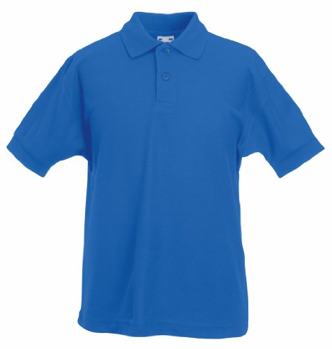 Fruit of the Loom Kids Pique Short Sleeve Polo Shirt Royal (Fruit Of The Loom Polo)