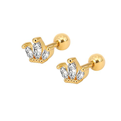 Cute Crown Cubic Zirconia Stud Earrings Surgical Steel Conch Helix Tragus Cartilage Earrings Piercing (Gold)