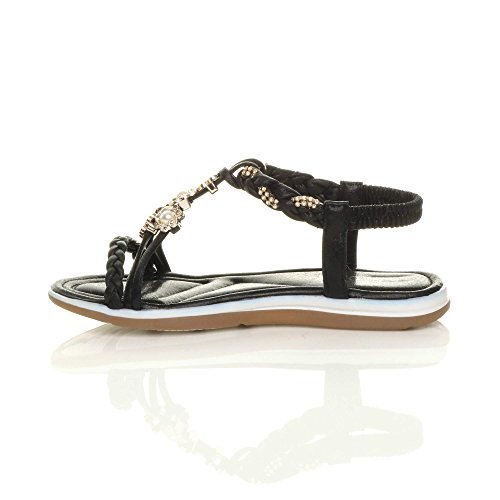 Womens Ladies Flat Low Wedge t-Bar Strappy Diamante Pearl Flower Sandals Size Black daTZpF8bJh