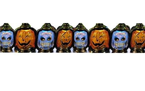 Set of 8 Halloween Skull & Pumpkin Lantern LED Lights wit...