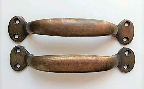 (2 Solid antique brass large strong file cabinet trunk handles 5 1/4