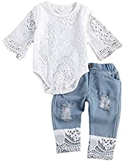 Baby Girl Lace Clothes Outfit for Newborn Long Sleeve Tops Romper for Infant Toddler Ripped Denim Jeans Outfits