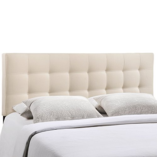 Modway Lily Tufted Linen Fabric Upholstered King Headboard in Ivory (White Rattan French Bed)