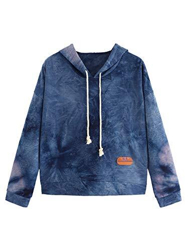 SweatyRocks Women's Long Sleeve Hoodie Sweatshirt Colorblock Tie Dye Print Tops Navy -