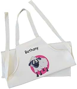 Personalizable–ovejas (rosa) diseño–Delantal Adulto–Natural (crema) algodón taladro