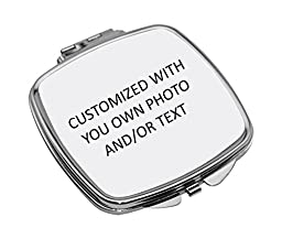 Personalized Compact Mirror with Your Own Photo and/or Text (Sunflower)