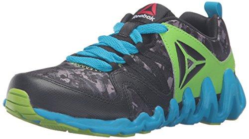 - Reebok Zig Big N' Fast FIRE GR - K Track Shoe, Black/Semi Solar Green/White, 13.5 M US Little Kid