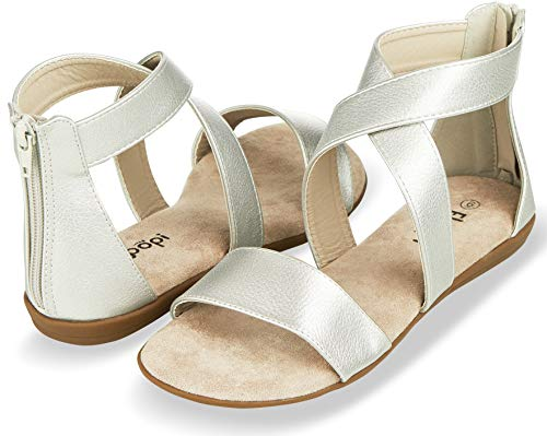 (Floopi Sandals for Women | Open Toe, Gladiator/Criss Cross-Design Summer Sandals W/Zip Up Back | Comfy, Faux Leather Ankle Straps W/Flat Sole, Memory Foam Insole | (10, Silver-515))