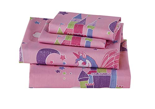 Luxury Home Collection 3 Piece Twin Size Sheet Set for Girls/Teens Unicorn Castle Rainbow Clouds Moon Shining Stars Lavender Pink Blue Yellow (Twin Sheet)