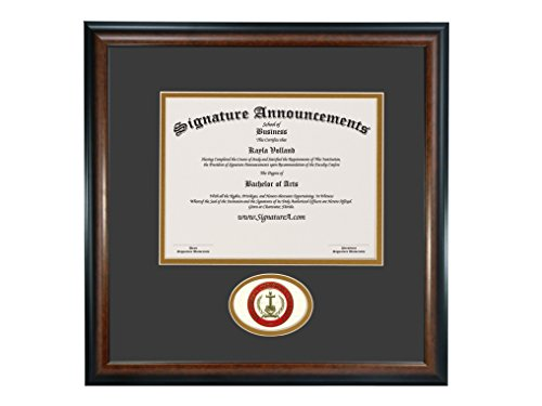 Signature Announcements Mid-America Christian University (MACU) Undergraduate and Graduate/Professional/Doctor Graduation Diploma Frame with Sculpted Foil Seal (Matte Mahogany, 16 x 16) by Signature Announcements