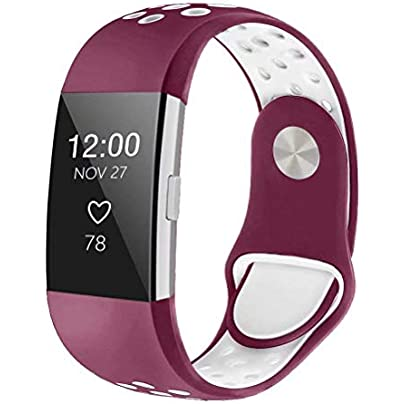NFYOI Replacement Bands Compatible for Fitbit Charge Classic Edition Adjustable Sport Wristbands Silicone Sport Breathable Bands Air Holes for Fitbit Charge Women Men Estimated Price £8.99 -