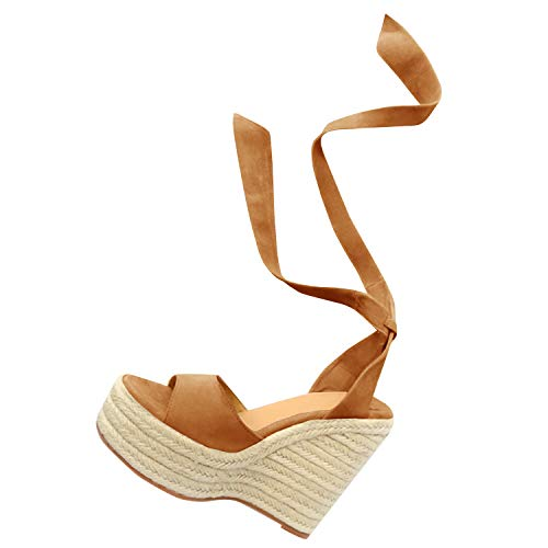 Fashare Womens Open Toe Tie Lace Up Espadrille Platform Wedges Sandals Ankle Strap Slingback Dress Shoes Brown