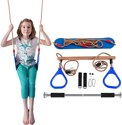 Popsport Trapeze Bar with Rings Gymnastic Swing Set with soft swing Combo for Outdoor Play, 220 lbs Swing Capacity,Adjustable Length for Different Door frame Easy Installation ,Backyard Swing Set, Jun