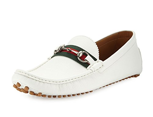 Gucci Men's 'Damo' Leather Horsebit Driver, White 322741 (8.5 US / 8 UK)