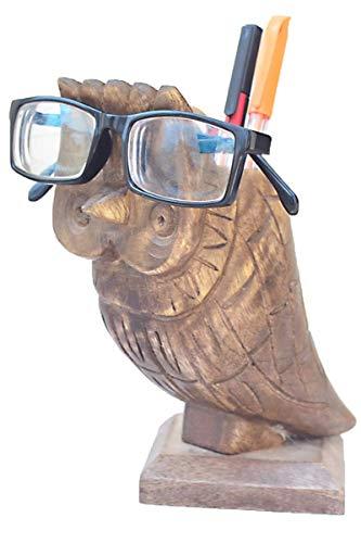 Etroves 6.5 Inch Eyeglass Glasses Spectacle Holder Display Stand - Handmade Wooden Pen Pencil Mobile Card Holder (Cute Owl) Home Office Supplies Desk Organiser Decor for Women Men