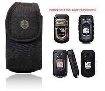 AccessoryHappy Universal Vertical Canvas FLIP Phone Pouch Holster Nylon Belt Case Flip Phone Belt Case Cover Fits Kyocera Cadence LTE, DuraXTP, DuraXV LTE, DuraXV, Doro 7050, Most Large FLIP Phones &