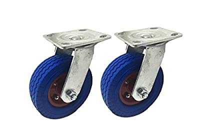"""2 Pack 6"""" Swivel Caster wheels Dust Cover Flat Free Rubber Tire Heavy Duty Castors with 360 Degree Top Bolt Plate Caster"""